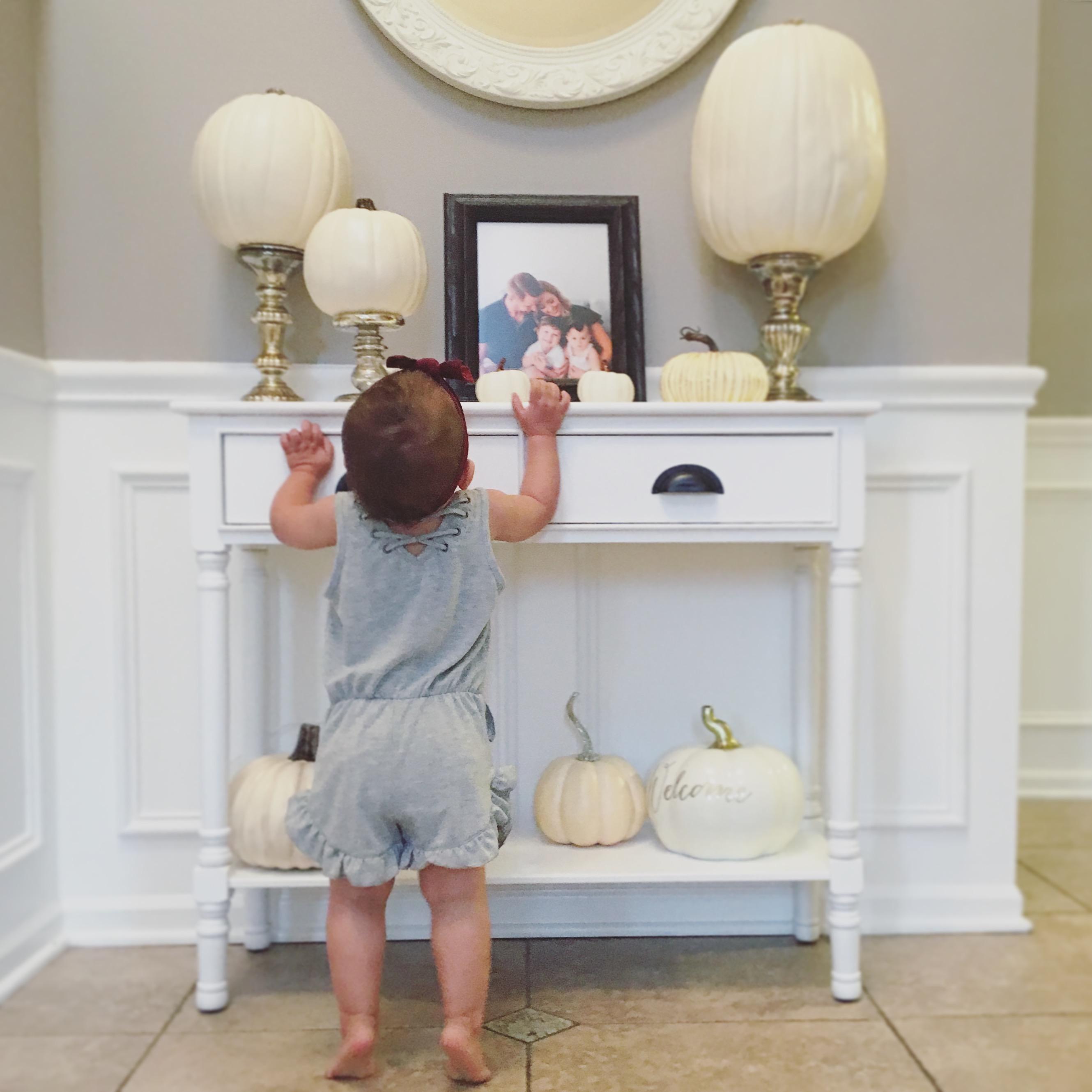 home decor white pumpkin foyer table
