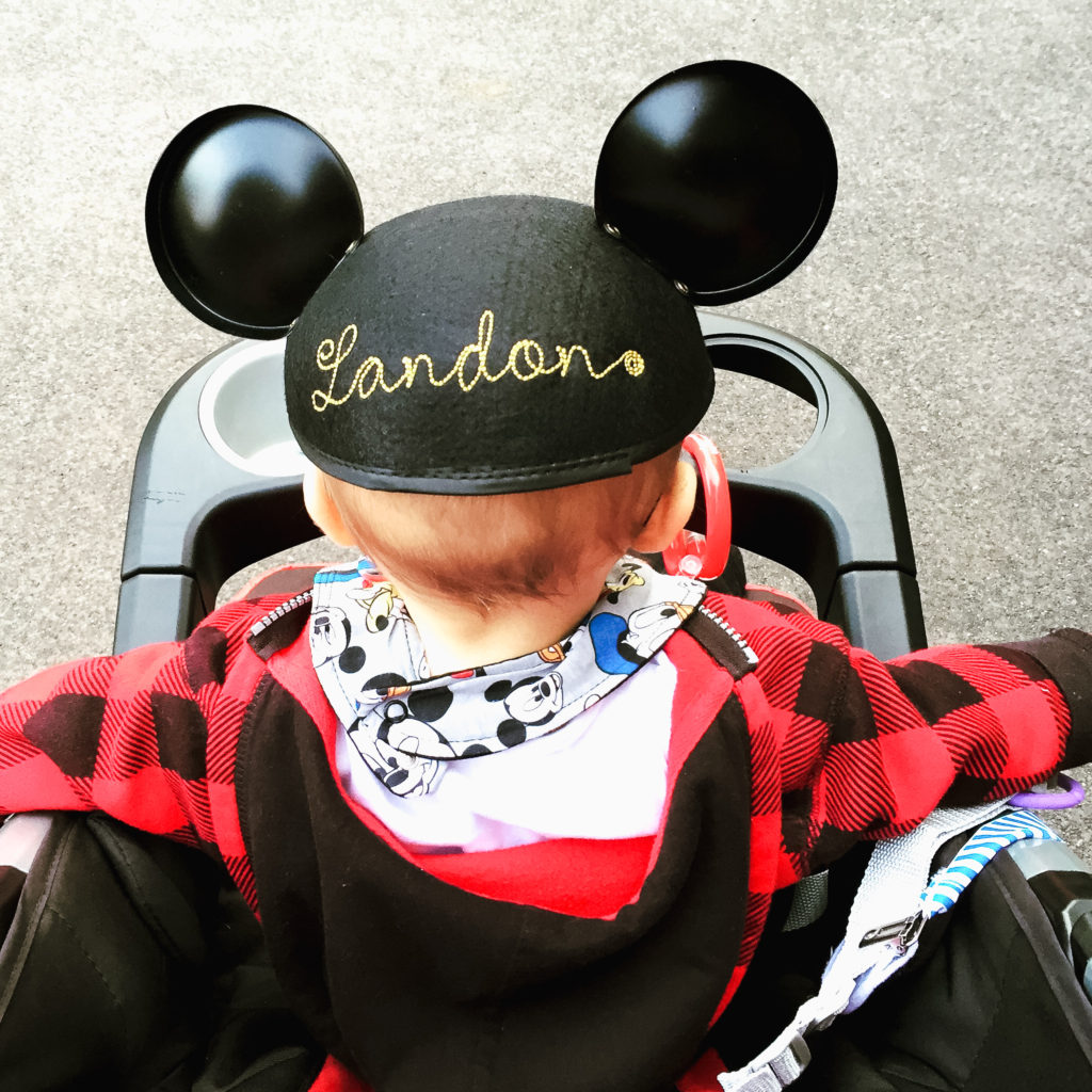 Landon's Mickey Ears from our first trip to Disneyland in January 2016. Disneyland vacation planning tips and tricks from a Disney Pro. Brianna K Bitsofbri bits of bri Cleveland mom blog Disneyland planning advice where to stay what to eat what age to go to disney