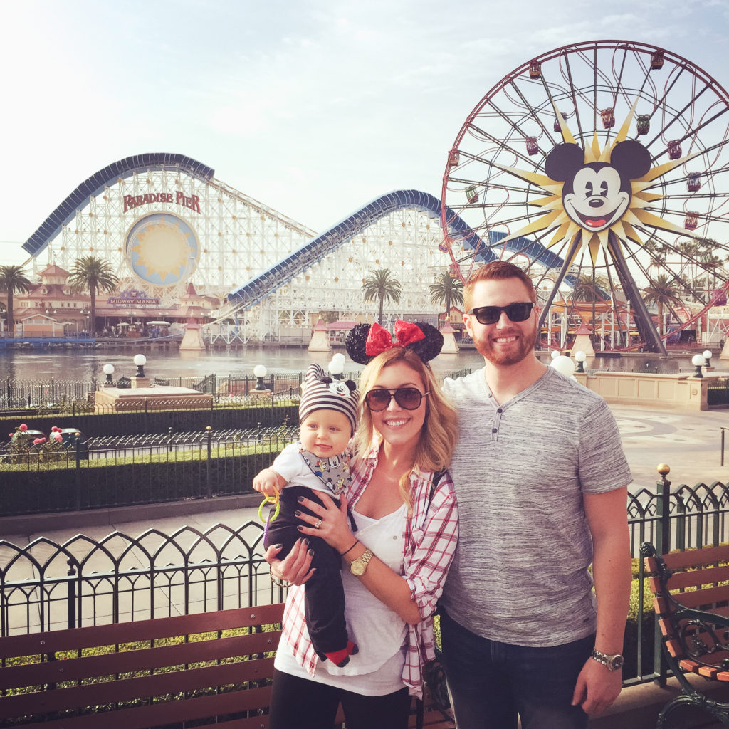 Serious Throwback: Adam, Landon, and me at Disney's California Adventure Park for the first trip to Disneyland! Disneyland vacation planning tips and tricks from a Disney Pro. Brianna K Bitsofbri bits of bri Cleveland mom blog Disneyland planning advice where to stay what to eat what age to go to disney
