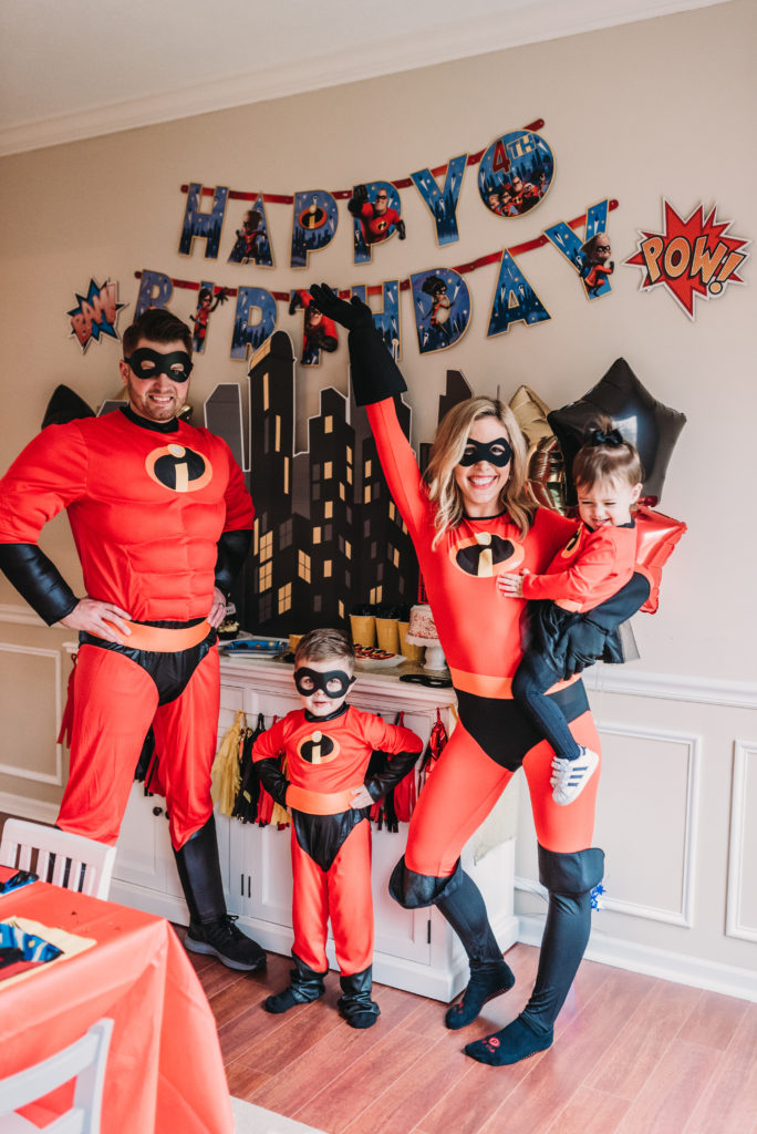 Brianna K Adam Landon Presley K family dressed up in incredibles costumes for Landon's 4th birthday party. HOW TO PLAN AN INCREDIBLE BIRTHDAY PARTY | BE YOUR OWN PARTY PLANNER CHECKLIST!