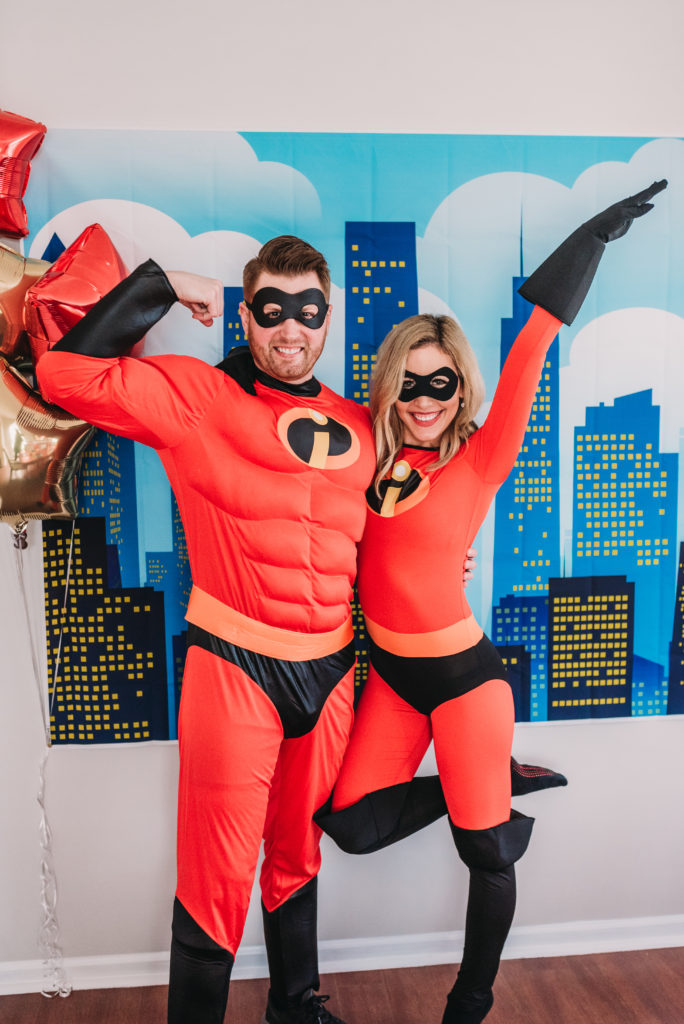 Adam and Brianna K dressed in incredibles costumes Mr. Incredible and Elastigirl outfits for Landon's 4th birthday party HOW TO PLAN AN INCREDIBLE BIRTHDAY PARTY | BE YOUR OWN PARTY PLANNER CHECKLIST! Brianna K bitsofbri blog
