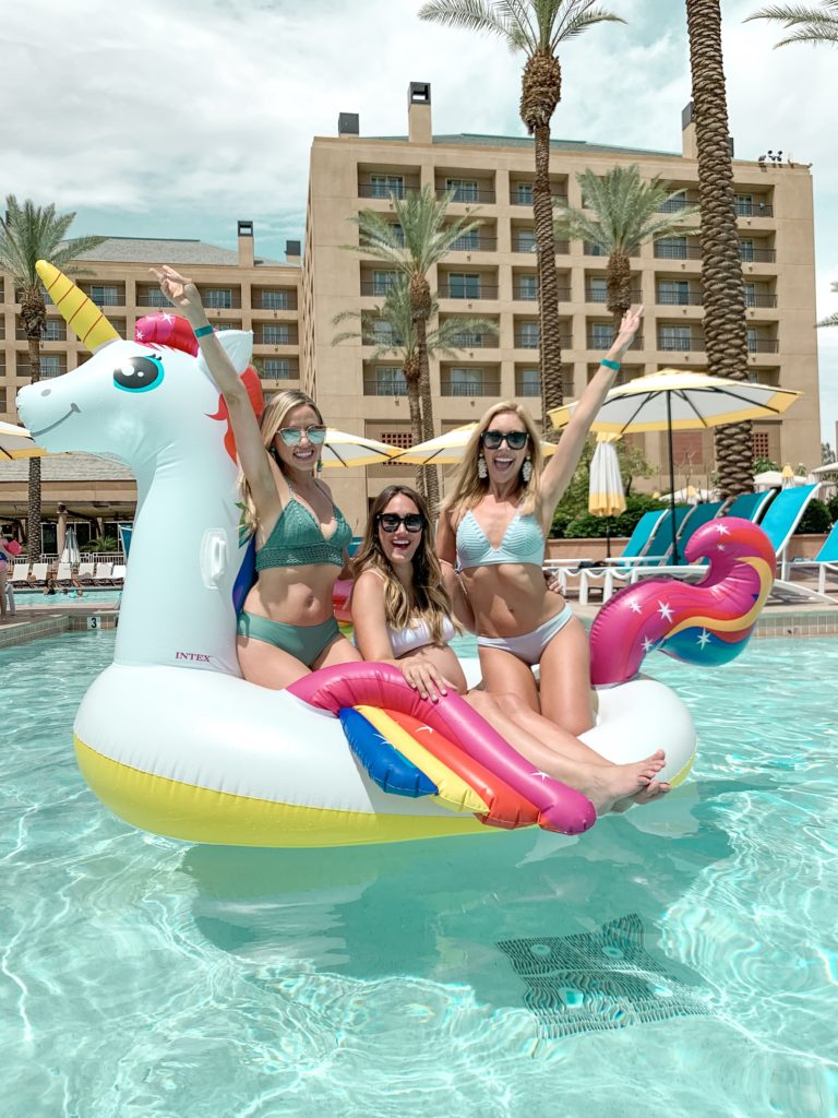 YouTube Moms Brianna K Tiffani Beaston Myka Stauffer on unicorn pool float on vacation in Palm Springs | 10 SUMMER MUST HAVES 2019 BITS OF BRI BLOG BY BRIANNA K