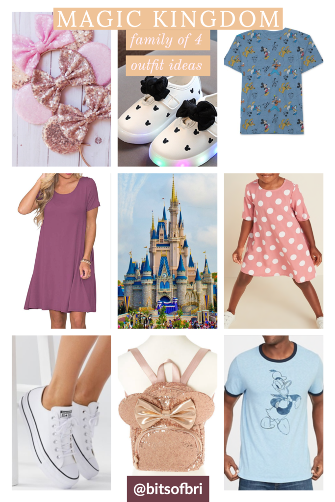 Magic Kingdom outfit ideas for a family of four with boy and girl to coordinate. mauve polka dot swing dress light-up Mickey shoes and a pair of pink mouse ears. It totally has sweet Minnie Mouse vibes!  mauve t-shirt dress in long or short sleeves or tank style  rose gold Mickey Ears cute rose gold sequin Minnie Mouse backpack. blue Donald tee shirt, blue Donald mickey pluto t-shirt Brianna K bitsofbri best of Disney Disney World outfit ideas coordinating outfits for family