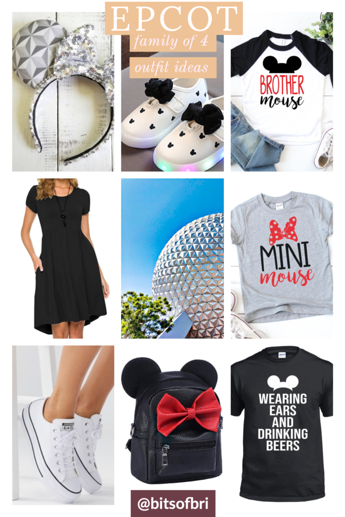 "Disney's EPCOT outfit ideas for a family of four with boy and girl to coordinate. Epcot ears plain black t-shirt dress  baseball brother mouse shirt ""Mini Mouse"" shirt  black t-shirt that says ""Wearing Ears and Drinking beers."" Minnie Mouse backpack. Brianna K bitsofbri best of Disney Disney World outfit ideas coordinating outfits for family"