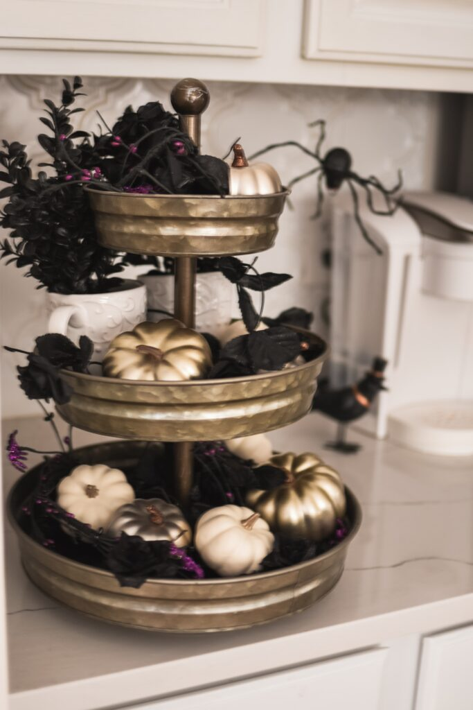 Three-tiered stand decor ideas for Halloween Fall 2019 HALLOWEEN HOME DECOR | FALL 2019 HOUSE TOUR | BITS OF BRI CLEAN AND DECORATE WITH ME Brianna K CLEANING MOTIVATION DECOR INSPIRATION