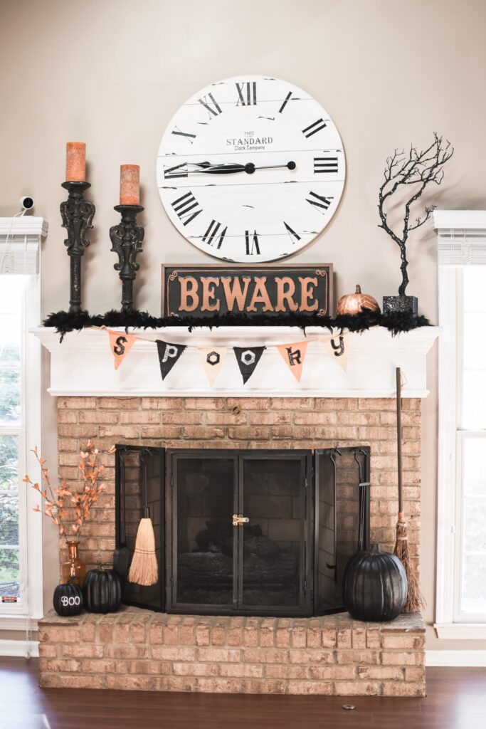 Mantle decor ideas for Halloween. HALLOWEEN HOME DECOR | FALL 2019 HOUSE TOUR | BITS OF BRI CLEAN AND DECORATE WITH ME Brianna K CLEANING MOTIVATION DECOR INSPIRATION