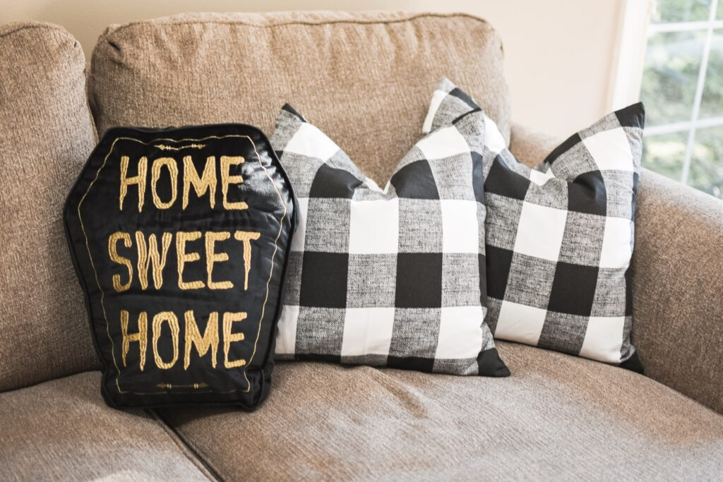 Fall halloween pillows. HALLOWEEN HOME DECOR | FALL 2019 HOUSE TOUR | BITS OF BRI CLEAN AND DECORATE WITH ME Brianna K CLEANING MOTIVATION DECOR INSPIRATION