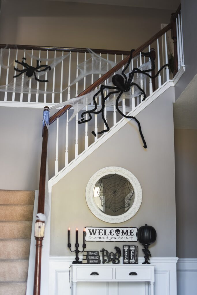 Spiders and foyer table decor ideas for halloween. HALLOWEEN HOME DECOR | FALL 2019 HOUSE TOUR | BITS OF BRI CLEAN AND DECORATE WITH ME Brianna K CLEANING MOTIVATION DECOR INSPIRATION