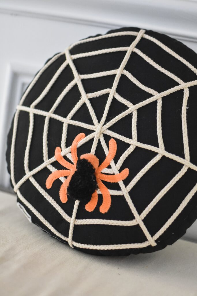 spider decor pillow for fall 2019. HALLOWEEN HOME DECOR | FALL 2019 HOUSE TOUR | BITS OF BRI CLEAN AND DECORATE WITH ME Brianna K CLEANING MOTIVATION DECOR INSPIRATION