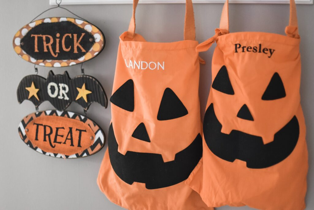 personalized trick or treat bags for halloween fall 2019. HALLOWEEN HOME DECOR | FALL 2019 HOUSE TOUR | BITS OF BRI CLEAN AND DECORATE WITH ME Brianna K CLEANING MOTIVATION DECOR INSPIRATION