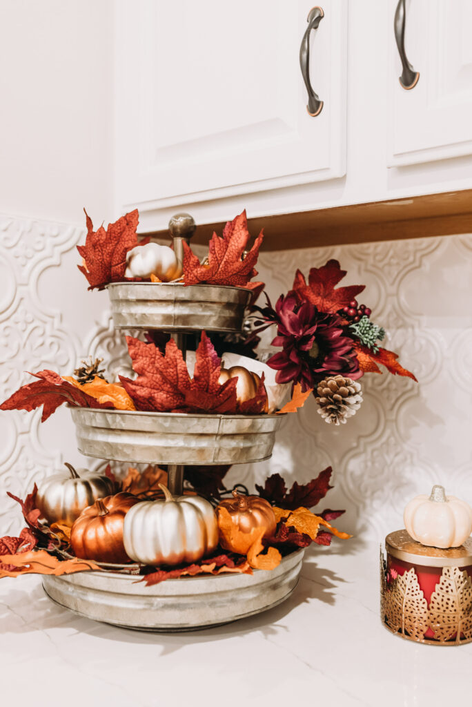 fall three tiered stand decoration ideas fall kitchen decor ideas Brianna K bits of Bri bitsofbri with a pumpkin for fall clean and decorate with me 2019 fall decor fall decoration ideas