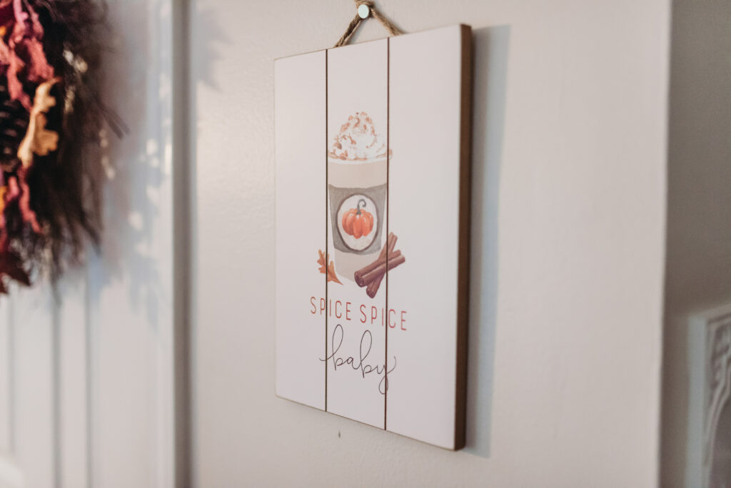 spice spice baby sign fall kitchen decor Brianna K bits of Bri bitsofbri with a pumpkin for fall clean and decorate with me 2019 fall decor fall decoration ideas