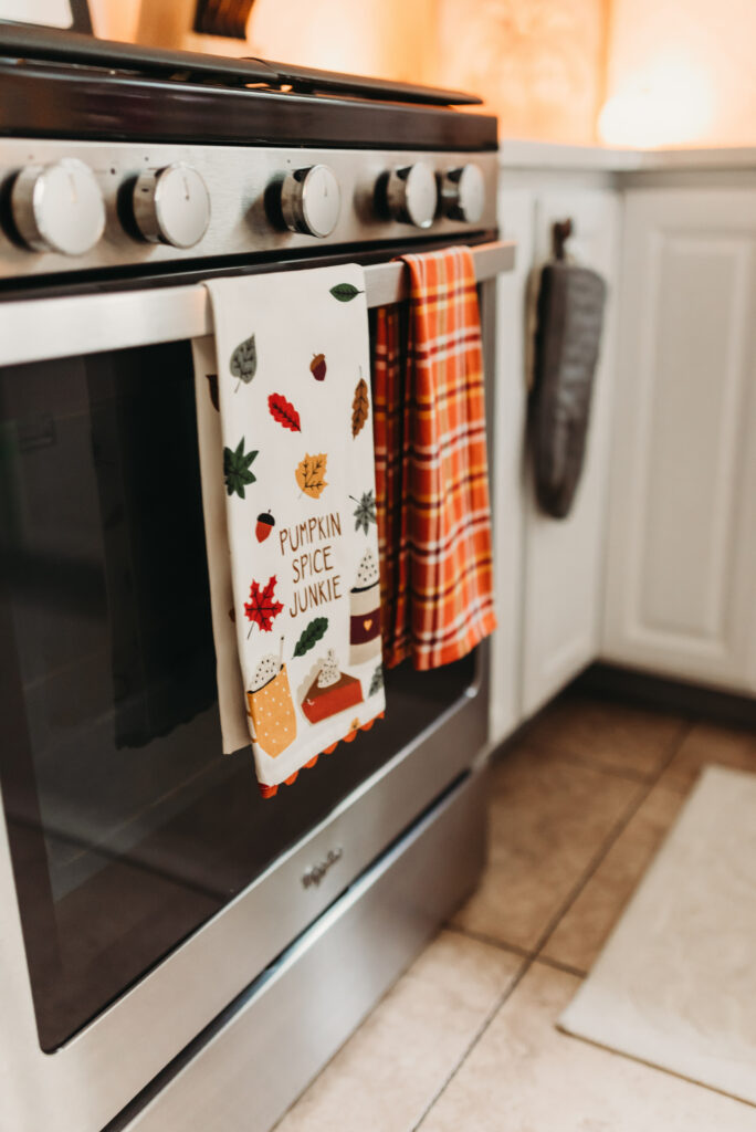 pumpkin spice junkie towel pier 1 fall kitchen decor Brianna K bits of Bri bitsofbri with a pumpkin for fall clean and decorate with me 2019 fall decor fall decoration ideas