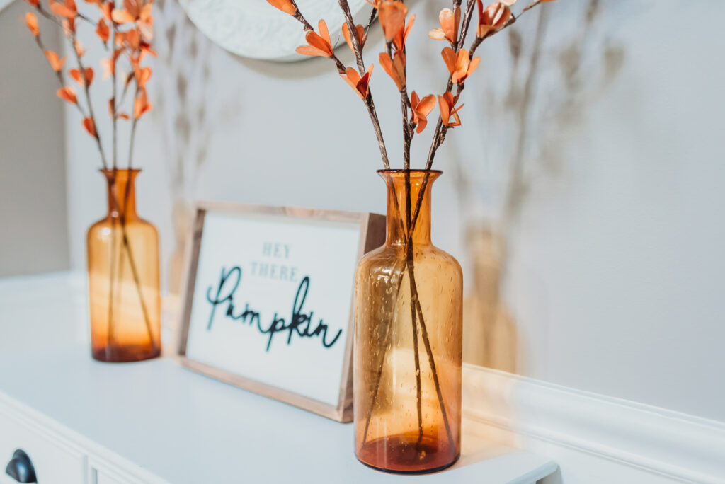 fall foyer table decor ideas Brianna K bits of Bri bitsofbri with a pumpkin for fall clean and decorate with me 2019 fall decor fall decoration ideas farmhouse boho chic decor
