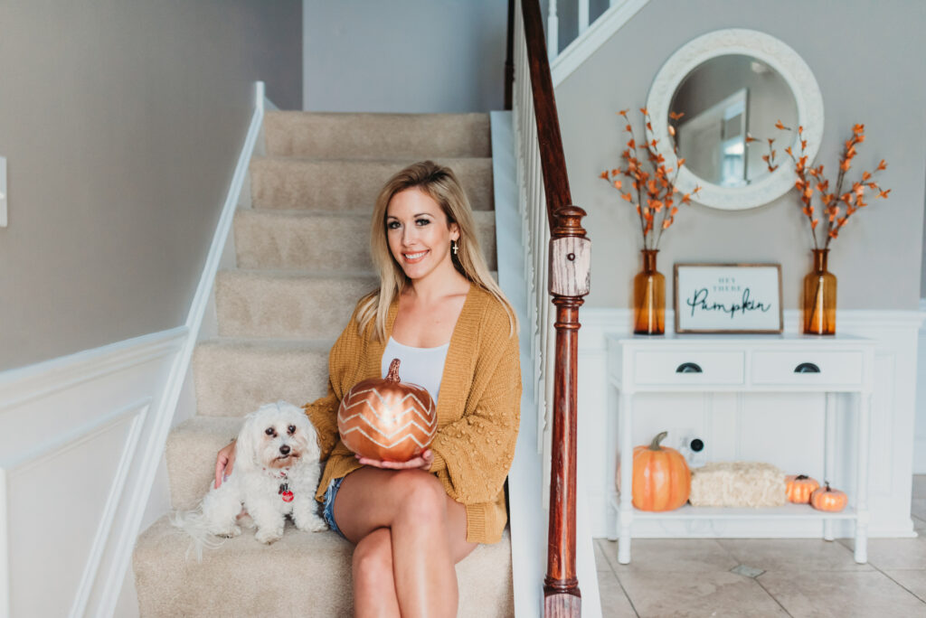 Brianna K bits of Bri bitsofbri with a pumpkin for fall clean and decorate with me 2019 fall decor fall decoration ideas