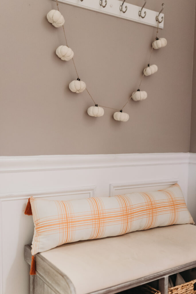 fall foyer bench decor ideas Brianna K bits of Bri bitsofbri with a pumpkin for fall clean and decorate with me 2019 fall decor fall decoration ideas