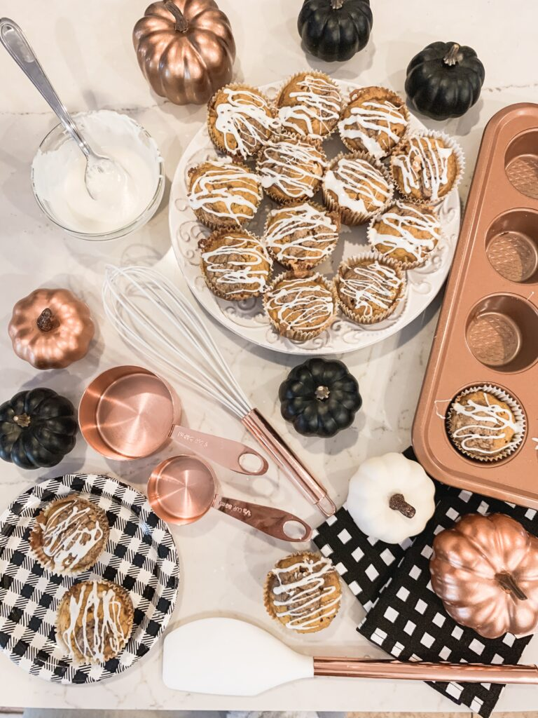pumpkin muffins with rose gold baking ware and copper utensils fall recipe 2019 Brianna K bits of Bri