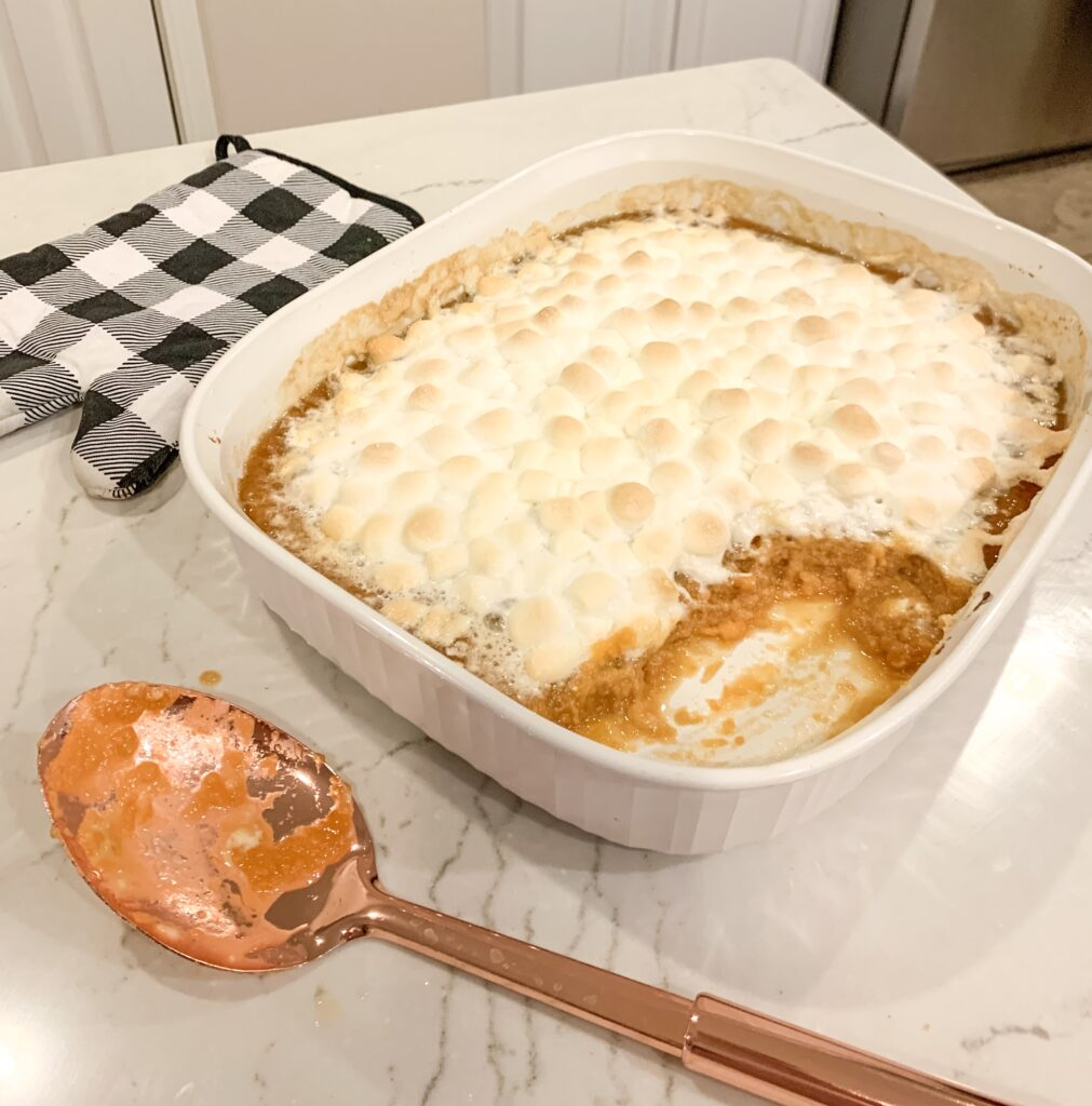 easy sweet potato casserole recipe thanksgiving side dishes side dish recipes thanksgiving 2019 Brianna K bitsofbri cooking