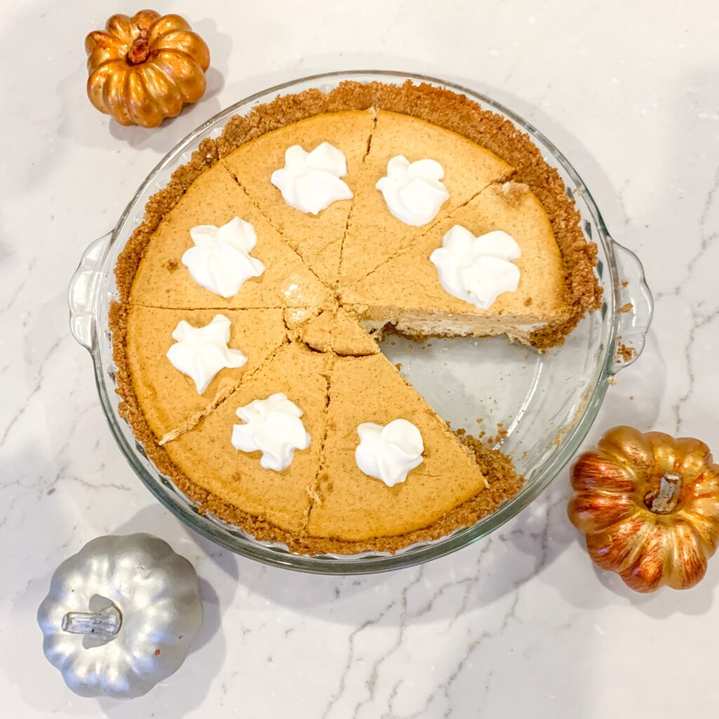 pumpkin pie cheesecake recipe easy thanksgiving dessert recipe pumpkin pie twist Brianna K bitsofbri