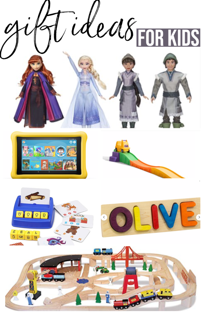 gift ideas for kids Christmas 2019 holiday gift guide Brianna K bitsofbri frozen dolls amazon tablet for kids step 2 roller coaster sight word letter game Etsy name wooden puzzle Melissa and Doug wooden train track