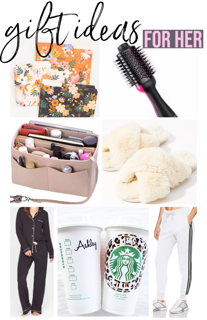 affordable gift ideas for her for christmas holidays 2019 stationary folders revlon hair styler purse organizer loft fluffy slippers target cozy pajamas Etsy personalized Starbucks coffee cups Adidas joggers