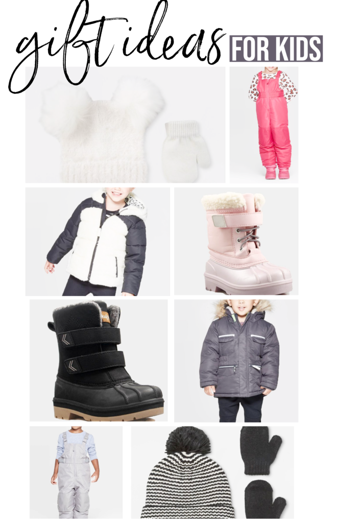 gift ideas for kids christmas 2019 holiday gift guide Brianna K bitsofbri  white snow hat and mittens, pink snow suit, white snow coat pink snow boots black snow boots gray snow coat gray snow suit black and white snow hat and black mittens