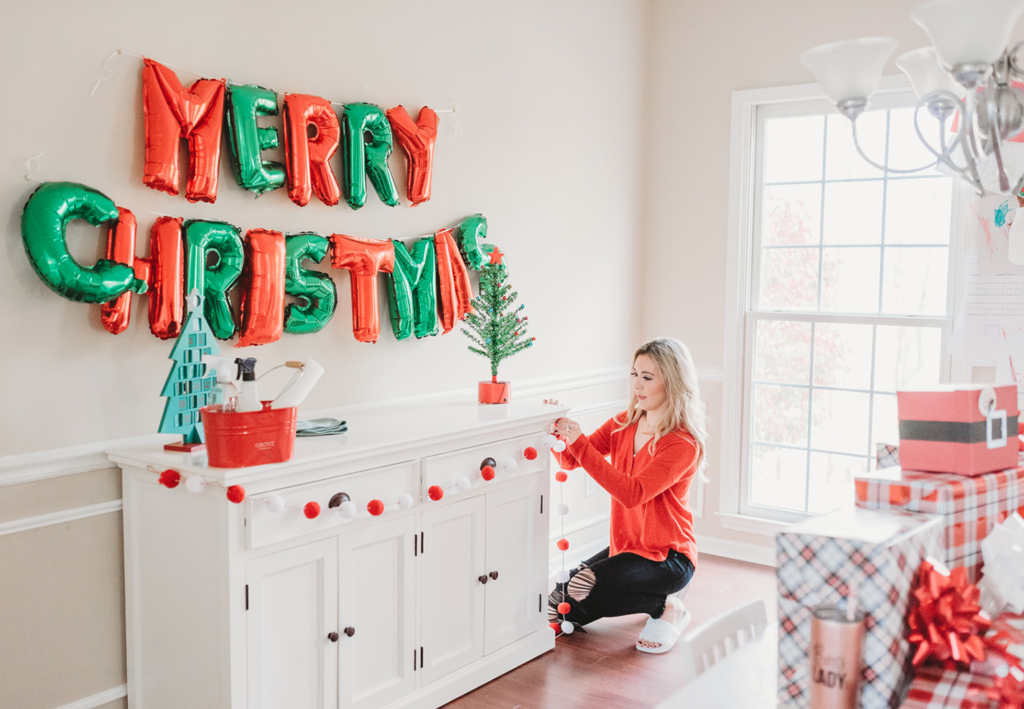 Brianna K bitsofbri blog clean and decorate with me christmas 2019 decorations and decor Inspo ideas Merry christmas balloons