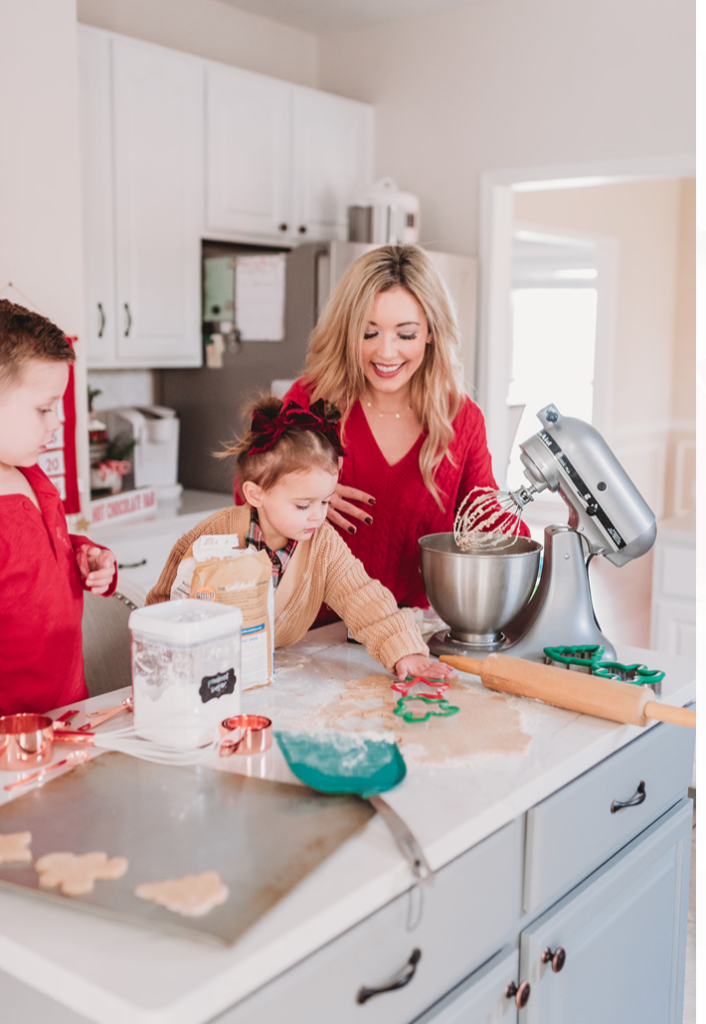 mom and kids baking cutout christmas cookies in kitchen Brianna K bitsofbri Landon Presley butter cookies
