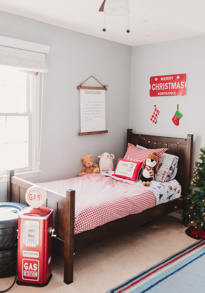 toddler christmas bedroom bedding and decor North Pole theme christmas decorations pottery barn kids red gingham bedding and Rudolph bed sheets Brianna K bitsofbri Landon's bedroom
