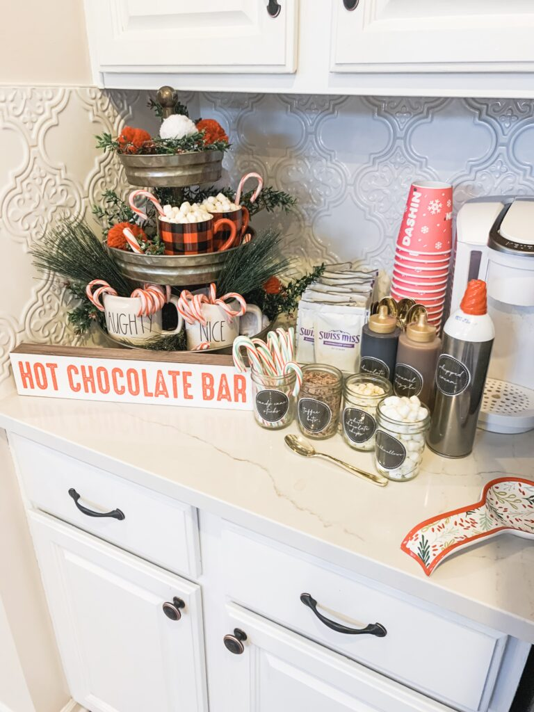 Hot Cocoa Bar set up Christmas party food ideas | Brianna K Bits of Bri Blog