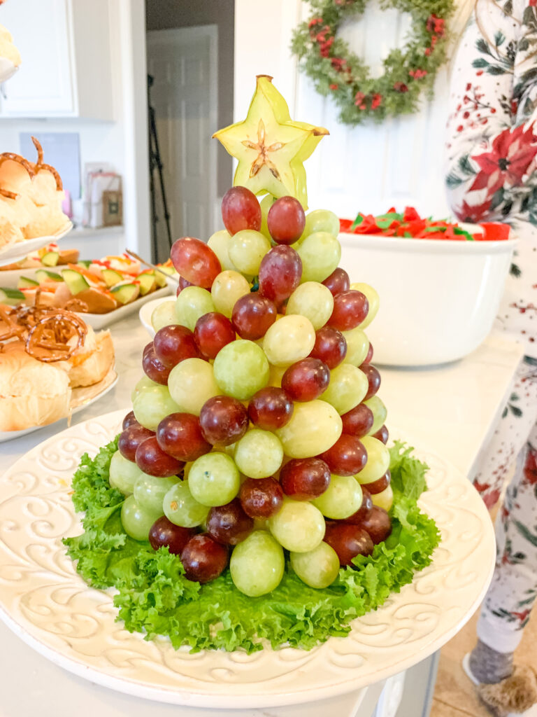 Grape Christmas Tree Christmas party food ideas | Brianna K Bits of Bri Blog