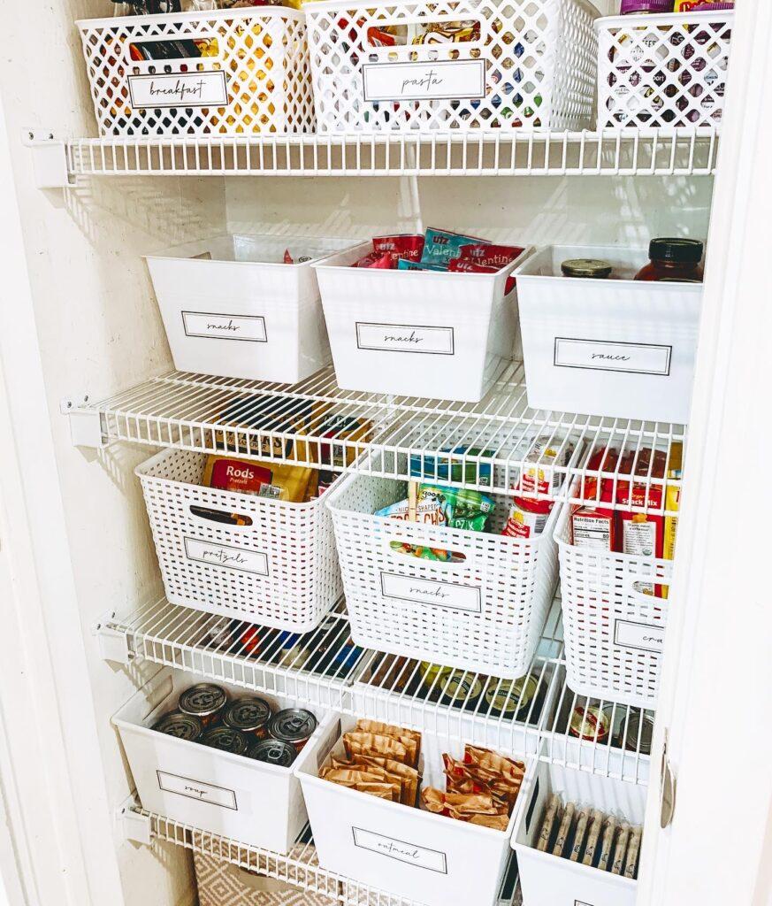 pantry organization with white dollar tree bins DIY easy organize Inspo Brianna k bitsofbri bits of bri blog