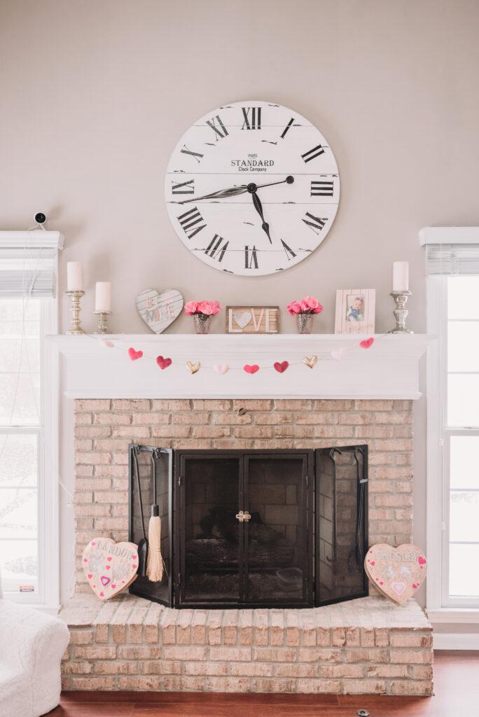 mantle decor ideas Valentine's Day decor decoration ideas for valentines Brianna k bits of Bri home